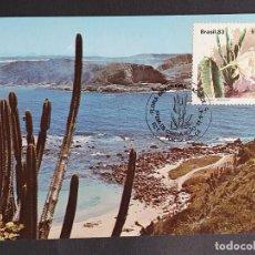 Timbres: TARJETA MÁXIMA BRASIL - FLORA: CACTUS MANDACARU (CEREUS JAMACARI) PLAYA LAS CONCHAS, FORTALEZA, CE. Lote 244710355