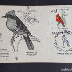 Sellos: TARJETA MÁXIMA ARGENTINA - FAUNA AVES: CHURRICHE (PYROCEPHALUS RUBINUS) GRAVADO, BUENOS AIRES 1963. Lote 244746830
