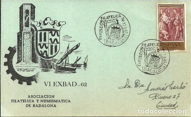 LOTE 10 TARJETAS DE LA EXPOSICIÓN FILATELICA DE BADALONA - 1951 - 1962 (Sellos - España - Tarjetas)
