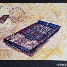 Sellos: TARJETA MÁXIMA ANGOLA - INSTRUMENTOS MUSICALES: KISSANGE O KISANJI, LUANDA 1991. Lote 244913815