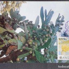 Timbres: TARJETA MÁXIMA ANGOLA - FLORA: CACTUS CHUMBERA O HIGUERA (OPUNTIA FICUS-INDICA), LUANDA 1993. Lote 244961075