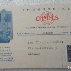 Sellos: ANTIGUA TARJETA.INDUSTRIAS ORBIS.TALLERES MECANICOS PRECISION.MADRID. Lote 245126540