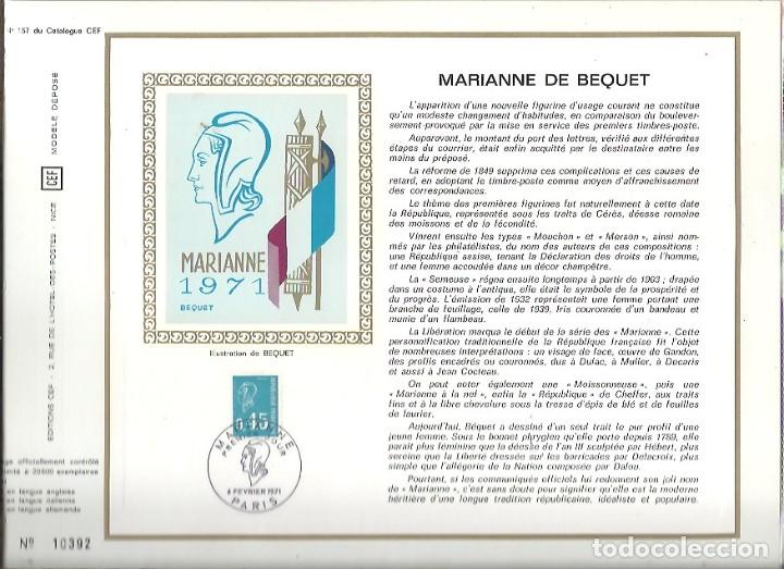 EDITIONS CEF Nº 157 MARIANNE DE BEQUET 6 FEVRIER 1971 (Sellos - Extranjero - Tarjetas)