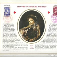 Sellos: EDITIONS CEF Nº 186 A OEUVRES DE GREUZE 1725 1805 ENFANT AVEC UN CHIEN CROIX ROUGE 1971. Lote 245896370