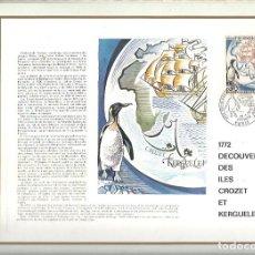 Sellos: EDITIONS CEF Nº 188 1772 DECOUVERTE DES ILES CROZET ET KERGUELEN 1972. Lote 245897390