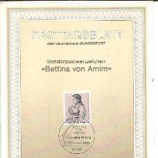 Sellos: ERSTTAGSBLATT DER DEUTSCHEN BUNDESPOST 1 1985 BETTINA VON ARNIM BERLIN 12. Lote 245904085