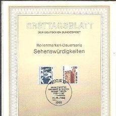 Sellos: ERSTTAGSBLATT DER DEUTSCHEN BUNDESPOST 1 1988 SEHENSWÜRDIGKEITEN BERLIN 12. Lote 245904520