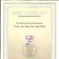 Sellos: ERSTTAGSBLATT DER DEUTSCHEN BUNDESPOST 1 1989 FRAUEN DER DEUTSCHEN GESCHICHTE BERLIN 12 ALICE SALOMO. Lote 245905075