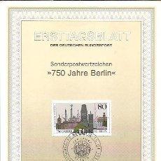 Sellos: ERSTTAGSBLATT DER DEUTSCHEN BUNDESPOST 2 1987 750 JAHRE BERLIN BERLIN 12. Lote 245906490
