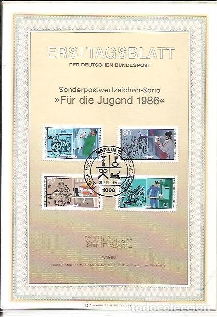 ERSTTAGSBLATT DER DEUTSCHEN BUNDESPOST 4 1986 FÜR DIE JUGEND 1986 BERLIN 12 (Sellos - Extranjero - Tarjetas)