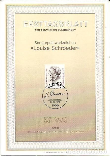 ERSTTAGSBLATT DER DEUTSCHEN BUNDESPOST 4 1987 LOUISE SCHROEDER BERLIN 12 (Sellos - Extranjero - Tarjetas)