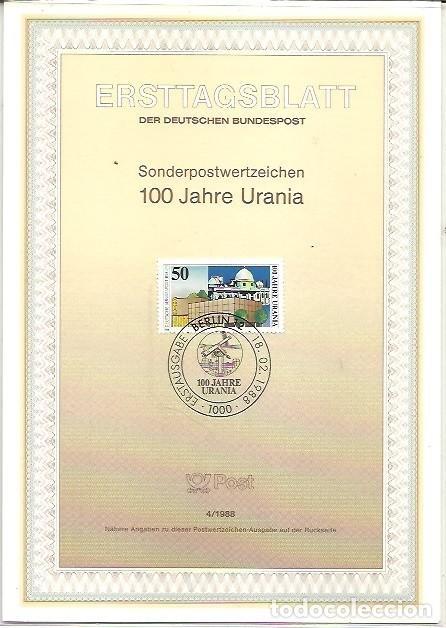 ERSTTAGSBLATT DER DEUTSCHEN BUNDESPOST 4 1988 100 JAHRE URANIA BERLIN 12 (Sellos - Extranjero - Tarjetas)