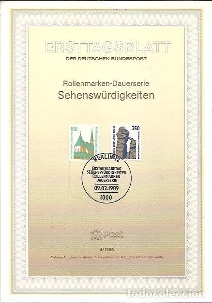 ERSTTAGSBLATT DER DEUTSCHEN BUNDESPOST 4 1989 SEHENSWÜRDIGKEITEN BERLIN 12 (Sellos - Extranjero - Tarjetas)