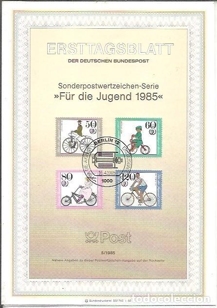 ERSTTAGSBLATT DER DEUTSCHEN BUNDESPOST 5 1985 FÜR DIE JUGEND BERLIN 12 (Sellos - Extranjero - Tarjetas)