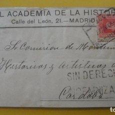 Sellos: ANTIGUA ETIQUETA FRANQUEADA.REAL ACADEMIA DE LA HISTORIA.MADRID.AFONSO XIII. Lote 252633550