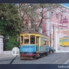 Francobolli: TARJETA MÁXIMA RAIL TREN PORTUGAL - TRANVÍA 28 EMBLEMÁTICO DE LA COMPAÑÍA CARRIS, LISBOA 1989. Lote 254207895