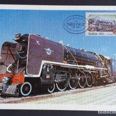Sellos: TARJETA MÁXIMA RAIL TREN SUDÁFRICA - LOCOMOTORAS DEL NORTE DE GRAN BRETAÑA 482 15F, DE AAR 1983. Lote 254833945