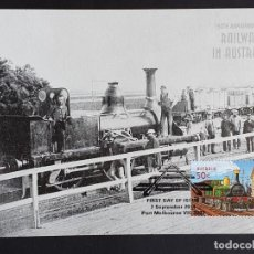 Sellos: TARJETA MÁXIMA RAIL TREN AUSTRALIA - STEPHENSON 2-4-0 (MELBOURNE-SANDRIDGE, 1854), MELBOURNE 2004. Lote 254857640
