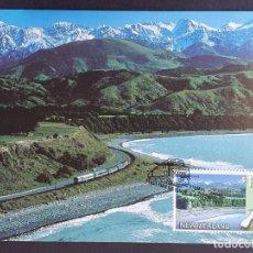 "Sellos: TARJETA MÁXIMA RAIL TREN NUEVA ZELANDA - ""THE COASTAL PACIFIC"" PICTON - CHRISTCHURCH, WANGUANI 1997. Lote 255005745"