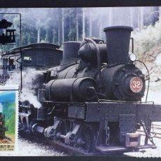 "Sellos: TARJETA MÁXIMA RAIL TREN TAIWÁN - LOCOMOTORA A VAPOR ""THE ALISHAN FOREST RAILWAY"", 1992. Lote 255006570"