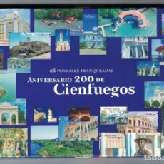 Sellos: CUBA 2018 200TH ANNIVERSARY OF CIENFUEGOS - 26 POSTCARDS - ARCHITECTURE. Lote 255588240
