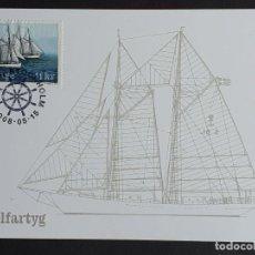 """Sellos: TARJETA MÁXIMA BARCOS NAVEGACIÓN SUECIA - GOLETAS """"HMS GLADAN Y HMS FALKEN"""", ESTOCOLMO 2004. Lote 255966560"""