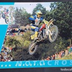 Sellos: TARJETA MÁXIMA DEPORTE SUECIA - MOTOCICLETAS: HÅKAN CARLQVIST (MOTOCROSS), ESTOCOLMO 2002. Lote 260016305