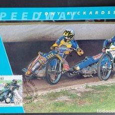 Sellos: TARJETA MÁXIMA DEPORTE SUECIA - MOTOCICLETAS: OVE FUNDIN (SPEEDWAY), ESTOCOLMO 2002. Lote 260016940