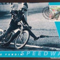 Sellos: TARJETA MÁXIMA DEPORTE SUECIA - MOTOCICLETAS: TONY RICKARDSSON (SPEEDWAY), ESTOCOLMO 2002. Lote 260017085