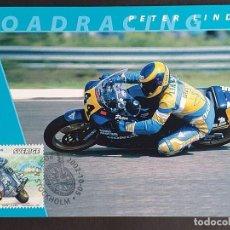 Sellos: TARJETA MÁXIMA DEPORTE SUECIA - MOTOCICLETAS: PETER LINDÉN (ROAD RACING), ESTOCOLMO 2002. Lote 260017370
