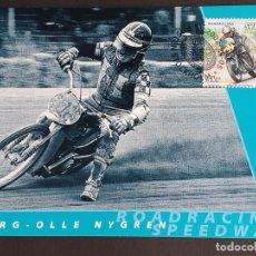 Sellos: TARJETA MÁXIMA DEPORTE SUECIA - MOTOCICLETAS: VARG-OLLE NYGREN (ROAD RACING, SPEED), ESTOCOLMO 2002. Lote 260017615