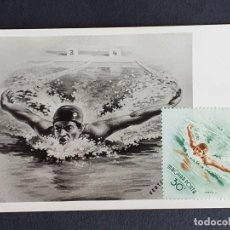 Francobolli: TARJETA MÁXIMA DEPORTE HUNGRÍA - APERTURA DEL ESTADIO DEL PUEBLO: NATACIÓN, BUDAPEST 1953. Lote 261242985