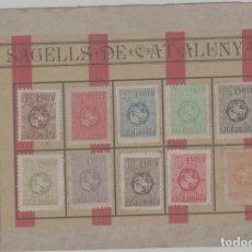 Selos: CATALUÑA. 1899 - UNIÓ CATALANISTA. TARJETA DE PRESENTACIÓN DE LA PRIMERA SERIE DE VIÑETAS SELLOS. Lote 261845555