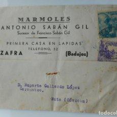 Selos: ANTIGUA TARJETA.MARMOLES ANTONIO SABAN GIL.LAPIDAS.ZAFRA BADAJOZ 1950.. Lote 263070360
