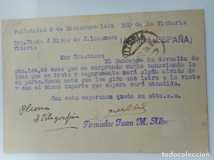 Sellos: ANTIGUA TARJETA.INDUSTRIAS AFA.JUAN M.ALBAN.VALLADOLID.CENSURA MILITAR 1939 - Foto 2 - 263072085
