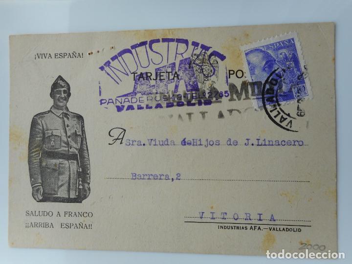 ANTIGUA TARJETA.INDUSTRIAS AFA.JUAN M.ALBAN.VALLADOLID.CENSURA MILITAR 1939 (Sellos - España - Tarjetas)