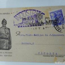 Sellos: ANTIGUA TARJETA.INDUSTRIAS AFA.JUAN M.ALBAN.VALLADOLID.CENSURA MILITAR 1939. Lote 263072085
