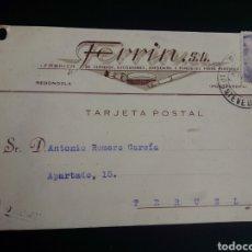 Francobolli: TARJETA POSTAL COMERCIAL. REDONDELA. PONTEVEDRA. CIRCULADA A TERUEL.. Lote 264516984