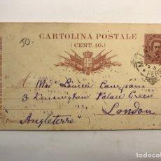 Sellos: CARTOLINE POSTALE, POSTAL ITALIANA NO .91, CÍRCULADA A INGLATERRA (A.1897). Lote 266740653