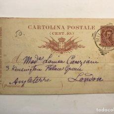 Sellos: CARTOLINE POSTALE, POSTAL ITALIANA NO .91, CÍRCULADA A INGLATERRA (A.1897). Lote 266740778