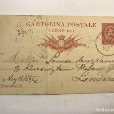 Sellos: CARTOLINE POSTALE, POSTAL ITALIANA NO.90, CÍRCULADA A INGLATERRA (A.1897). Lote 266741283