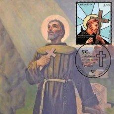 Sellos: CROATIA 2020 - 50TH ANNIVERSARY OF THE CANONIZATION OF ST. NICHOLAS (NIKOLA) TAVELIC CARTE MAXIMUM. Lote 266779764