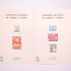 Sellos: JUEGO DE 2 TARJETONES - ESPAMER 77 / CRISTÓBAL COLON - PRUEBA EN COLOR - BARCELONA 1977. Lote 268399624
