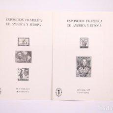 Sellos: JUEGO DE 2 TARJETONES - ESPAMER 77 / CRISTÓBAL COLON - PRUEBA EN BLANCO Y NEGRO - BARCELONA 1977. Lote 268399634