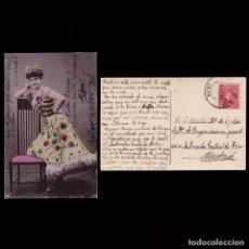 Sellos: TARJETA POSTAL.BAILARINA SELLO 10C.ALFONSO XIII MATASELLO BILBAO 1908.. Lote 269118448