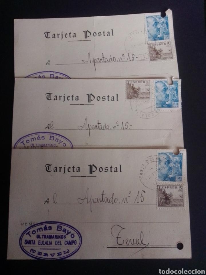 Sellos: LOTE DE 21 TARJETAS POSTALES COMERCIALES. CIRCULADAS A TERUEL. - Foto 9 - 269992273