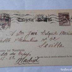 Sellos: ANTIGUA TARJETA.CENSURA MILITAR.LEONCIO ALIA CHICO.MADRID-JOSE DELGADO MERINO.SEVILLA.. Lote 270698533