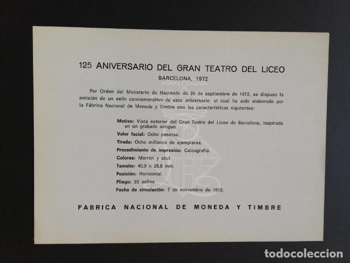 Sellos: HOJA RECUERDO (EDIFIL 6) 125 ANIVERSARIO GRAN TEATRO DEL LICEO 1972. - Foto 2 - 274436898