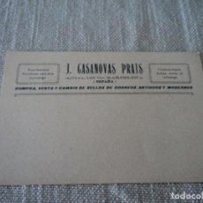 Sellos: TARJETA POSTAL J. CASANOVAS PRATS, COMPRA VENTA DE SELLOS AÑOS 30. Lote 276436188