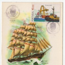 Sellos: TARJETA MAXIMA BARCOS PORTUGAL 1983. Lote 277243923
